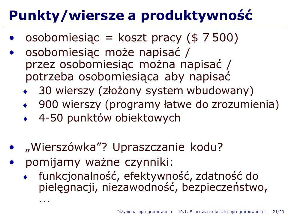 Inżynieria oprogramowania 10.1. Szacowanie kosztu oprogramowania 1 21/29 Punkty/wiersze a produktywność osobomiesiąc = koszt pracy ($ 7 500) osobomies