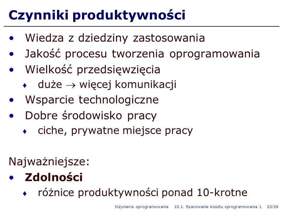 Inżynieria oprogramowania 10.1. Szacowanie kosztu oprogramowania 1 23/29 Czynniki produktywności Wiedza z dziedziny zastosowania Jakość procesu tworze