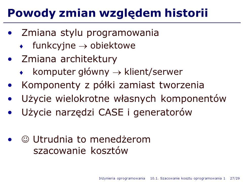 Inżynieria oprogramowania 10.1. Szacowanie kosztu oprogramowania 1 27/29 Powody zmian względem historii Zmiana stylu programowania funkcyjne obiektowe