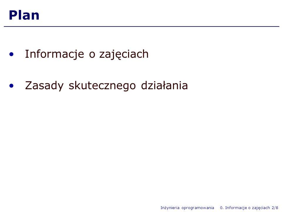 Inżynieria oprogramowania 0. Informacje o zajęciach 2/8 Plan Informacje o zajęciach Zasady skutecznego działania