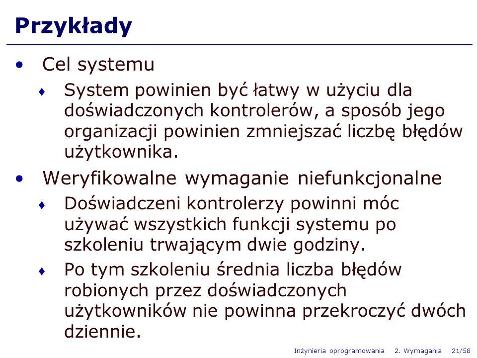 Inżynieria oprogramowania 2. Wymagania 21/58 Przykłady Cel systemu System powinien być łatwy w użyciu dla doświadczonych kontrolerów, a sposób jego or