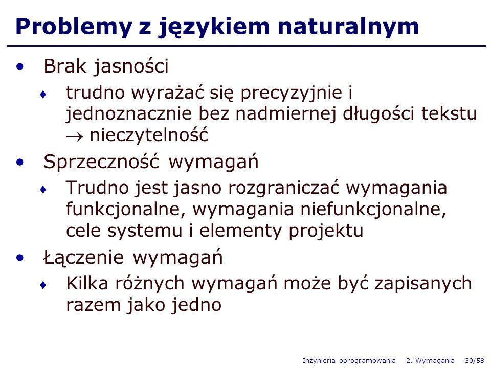Inżynieria oprogramowania 2. Wymagania 30/58 Problemy z językiem naturalnym Brak jasności trudno wyrażać się precyzyjnie i jednoznacznie bez nadmierne