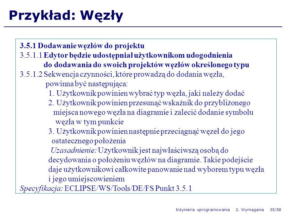 Inżynieria oprogramowania 2. Wymagania 35/58 Przykład: Węzły 3.5.1 Dodawanie węzłów do projektu 3.5.1.1 Edytor będzie udostępniał użytkownikom udogodn