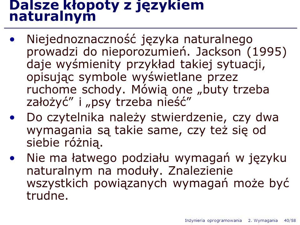 Inżynieria oprogramowania 2. Wymagania 40/58 Dalsze kłopoty z językiem naturalnym Niejednoznaczność języka naturalnego prowadzi do nieporozumień. Jack
