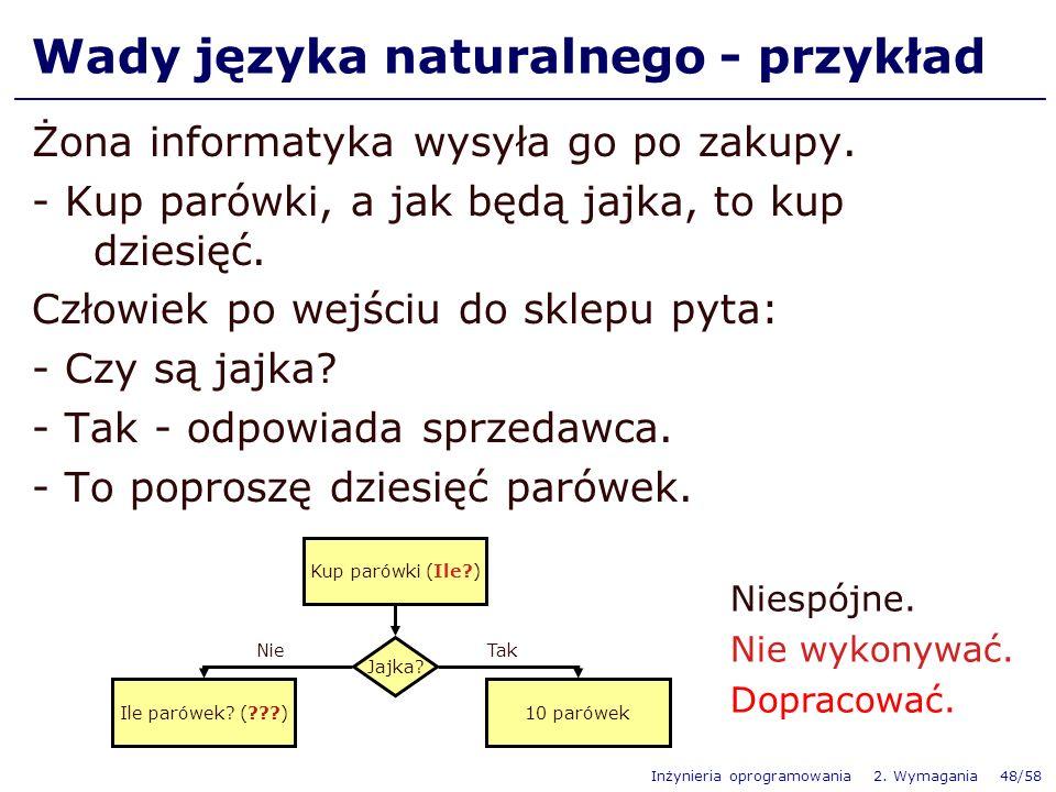 Inżynieria oprogramowania 2. Wymagania 48/58 Wady języka naturalnego - przykład Żona informatyka wysyła go po zakupy. - Kup parówki, a jak będą jajka,
