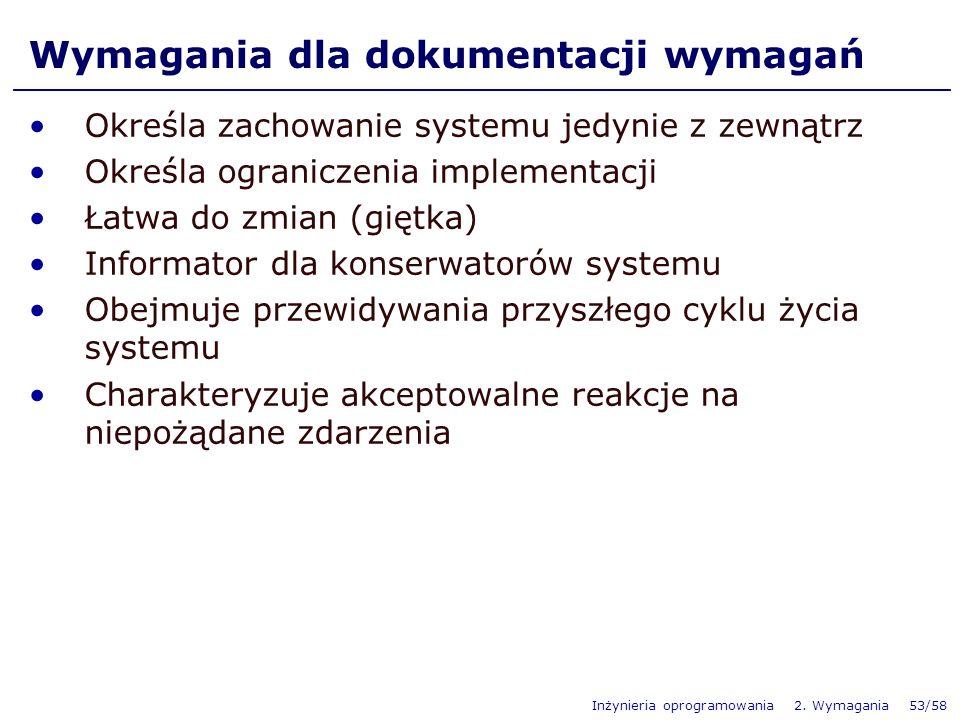 Inżynieria oprogramowania 2. Wymagania 53/58 Określa zachowanie systemu jedynie z zewnątrz Określa ograniczenia implementacji Łatwa do zmian (giętka)