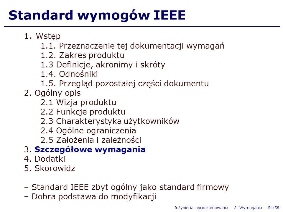 Inżynieria oprogramowania 2. Wymagania 54/58 Standard wymogów IEEE 1. Wstęp 1.1. Przeznaczenie tej dokumentacji wymagań 1.2. Zakres produktu 1.3 Defin