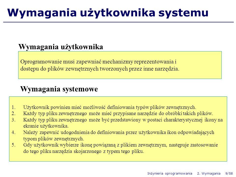 Inżynieria oprogramowania 2. Wymagania 9/58 Wymagania użytkownika systemu Wymagania użytkownika Oprogramowanie musi zapewniać mechanizmy reprezentowan