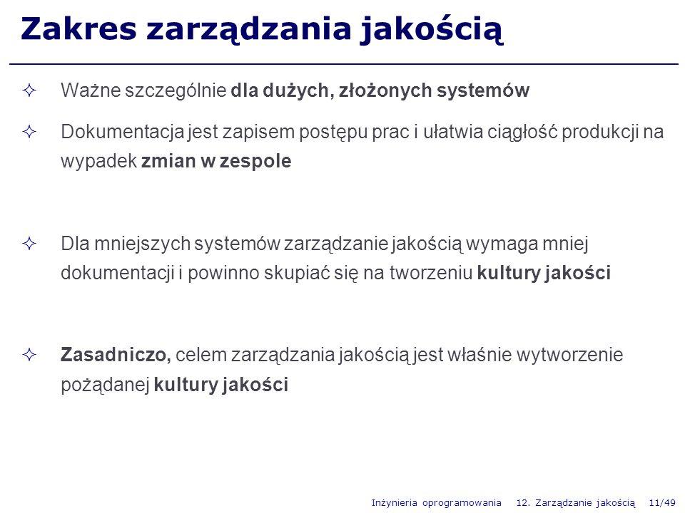 Inżynieria oprogramowania 12. Zarządzanie jakością 11/49 Zakres zarządzania jakością Ważne szczególnie dla dużych, złożonych systemów Dokumentacja jes