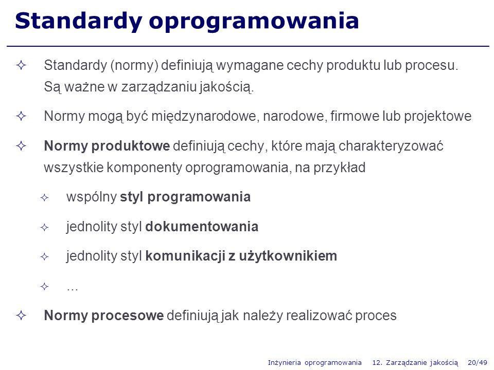 Inżynieria oprogramowania 12. Zarządzanie jakością 20/49 Standardy oprogramowania Standardy (normy) definiują wymagane cechy produktu lub procesu. Są