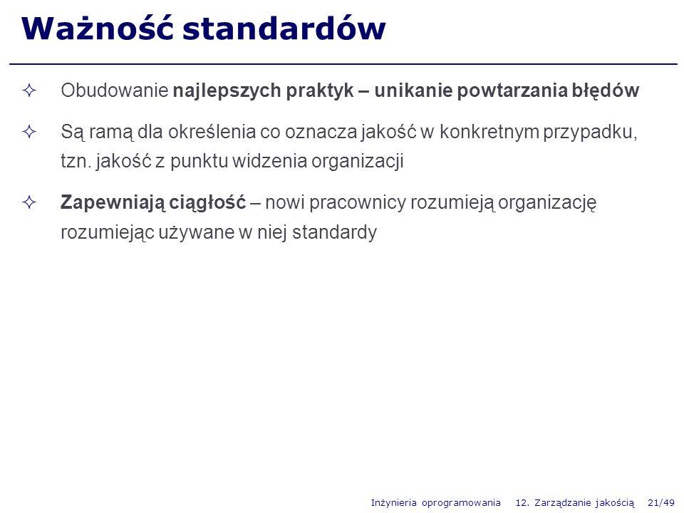 Inżynieria oprogramowania 12. Zarządzanie jakością 21/49 Ważność standardów Obudowanie najlepszych praktyk – unikanie powtarzania błędów Są ramą dla o