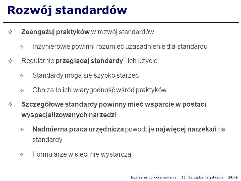 Inżynieria oprogramowania 12. Zarządzanie jakością 24/49 Rozwój standardów Zaangażuj praktyków w rozwój standardów Inżynierowie powinni rozumieć uzasa