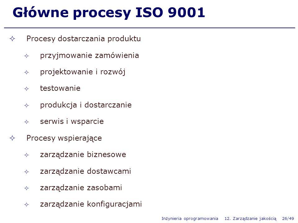 Inżynieria oprogramowania 12. Zarządzanie jakością 26/49 Główne procesy ISO 9001 Procesy dostarczania produktu przyjmowanie zamówienia projektowanie i