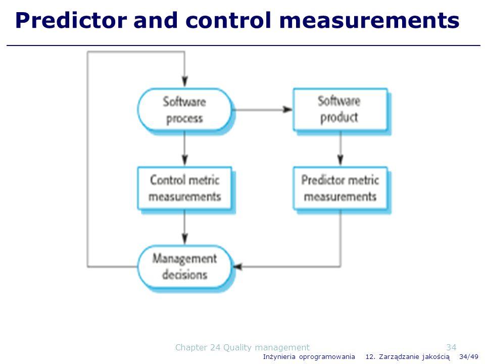 Inżynieria oprogramowania 12. Zarządzanie jakością 34/49 Predictor and control measurements 34Chapter 24 Quality management