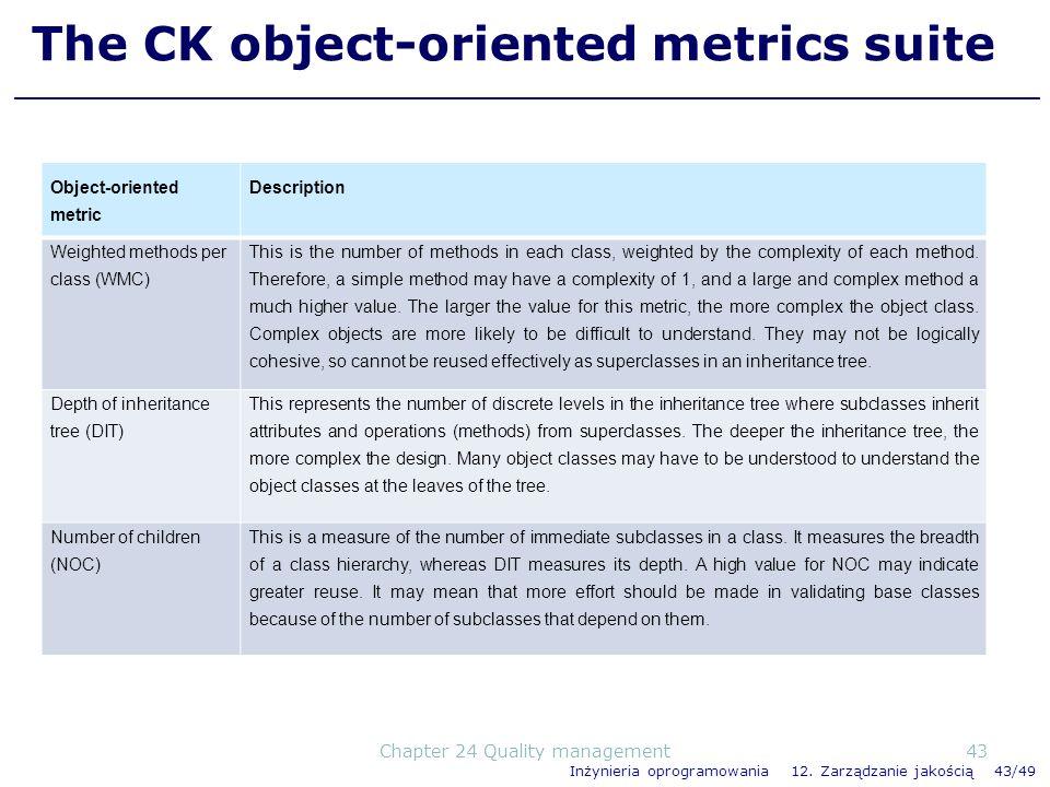 Inżynieria oprogramowania 12. Zarządzanie jakością 43/49 The CK object-oriented metrics suite Object-oriented metric Description Weighted methods per