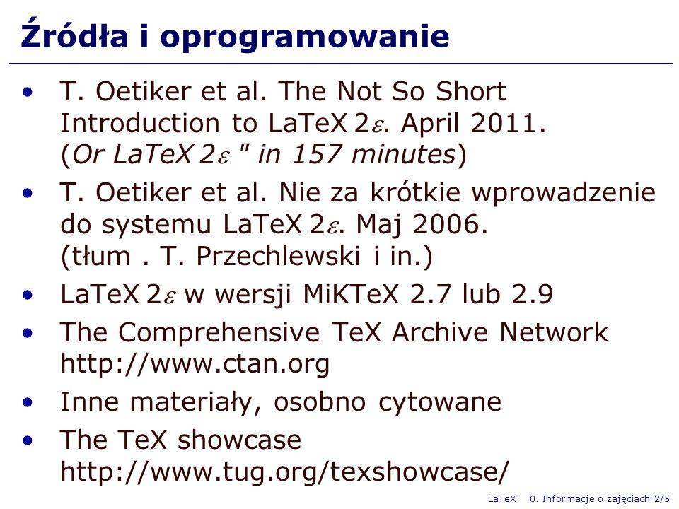 LaTeX 0.Informacje o zajęciach 3/5 Punktacja, zaliczenie Formy aktywności na zajęciach 1.