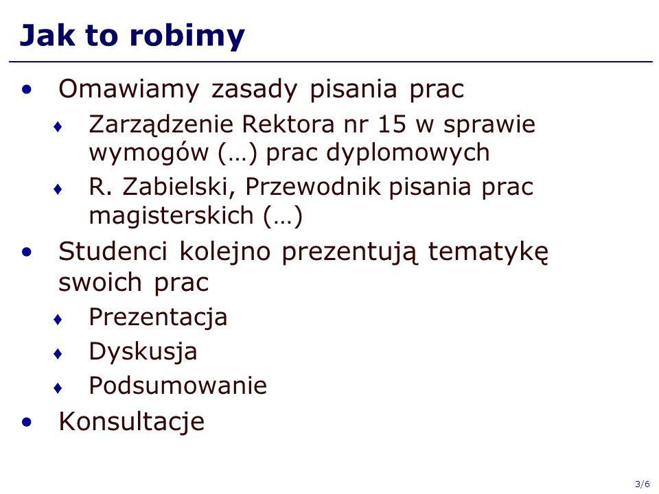 3/6 Jak to robimy Omawiamy zasady pisania prac Zarządzenie Rektora nr 15 w sprawie wymogów (…) prac dyplomowych R.