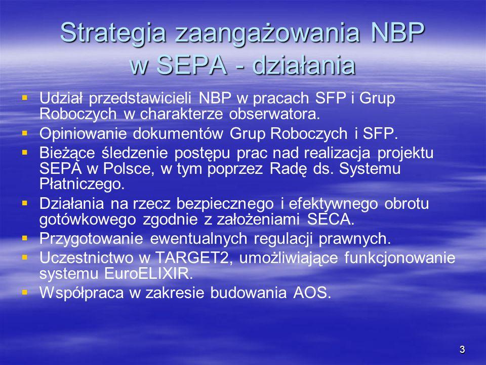 3 Strategia zaangażowania NBP w SEPA - działania Udział przedstawicieli NBP w pracach SFP i Grup Roboczych w charakterze obserwatora. Opiniowanie doku