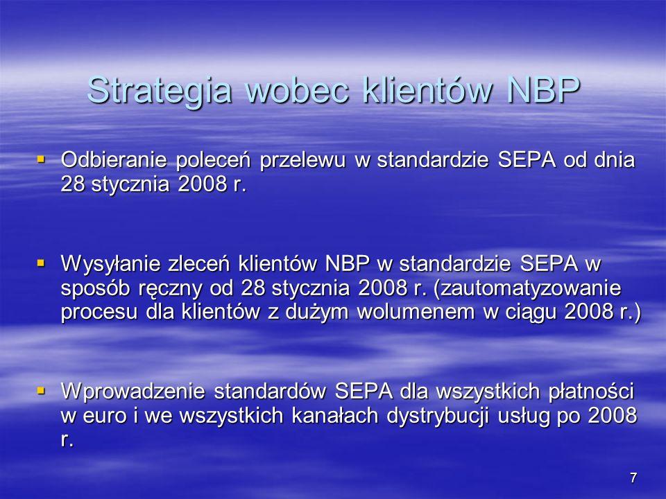 7 Strategia wobec klientów NBP Odbieranie poleceń przelewu w standardzie SEPA od dnia 28 stycznia 2008 r. Odbieranie poleceń przelewu w standardzie SE