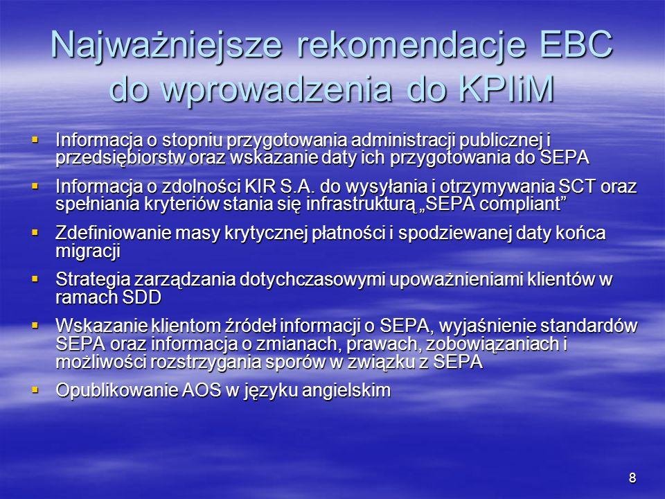 8 Najważniejsze rekomendacje EBC do wprowadzenia do KPIiM Informacja o stopniu przygotowania administracji publicznej i przedsiębiorstw oraz wskazanie