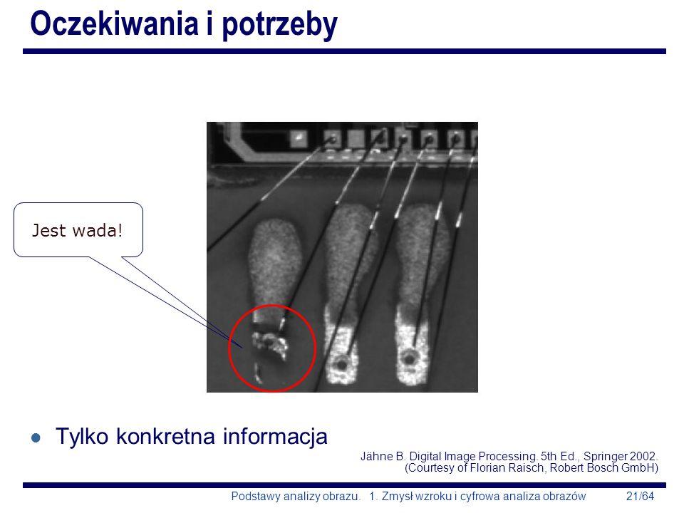 21/64Podstawy analizy obrazu. 1. Zmysł wzroku i cyfrowa analiza obrazów Oczekiwania i potrzeby l Tylko konkretna informacja Jähne B. Digital Image Pro