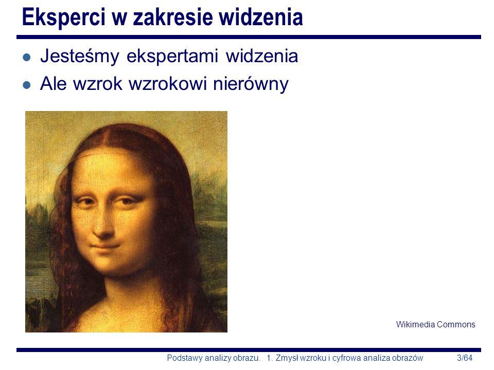 3/64Podstawy analizy obrazu. 1. Zmysł wzroku i cyfrowa analiza obrazów l Jesteśmy ekspertami widzenia l Ale wzrok wzrokowi nierówny Wikimedia Commons