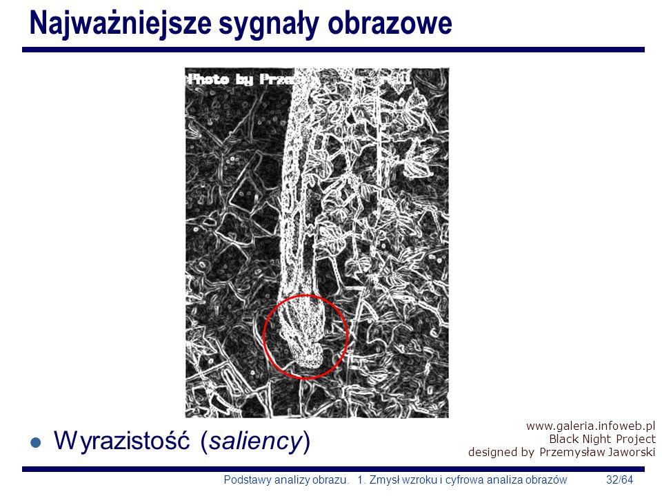 32/64Podstawy analizy obrazu. 1. Zmysł wzroku i cyfrowa analiza obrazów Najważniejsze sygnały obrazowe l Wyrazistość (saliency) www.galeria.infoweb.pl