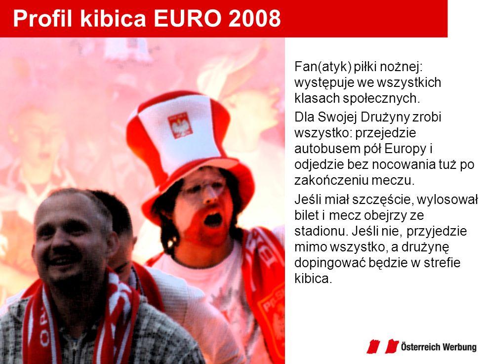 Profil kibica EURO 2008 Fan(atyk) piłki nożnej: występuje we wszystkich klasach społecznych. Dla Swojej Drużyny zrobi wszystko: przejedzie autobusem p