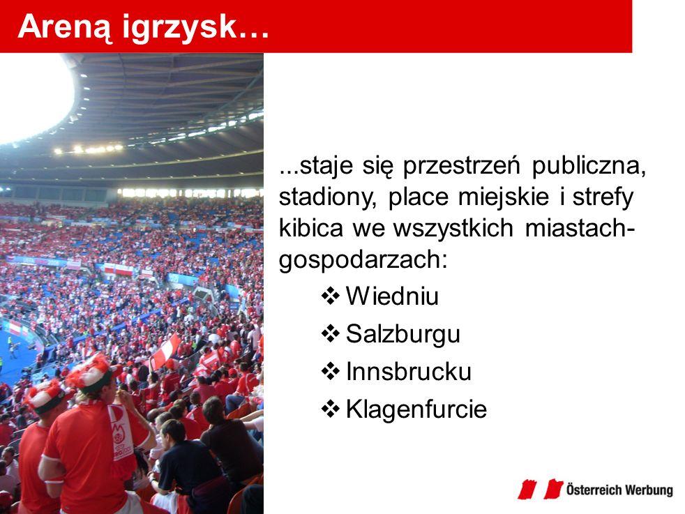 Areną igrzysk…...staje się przestrzeń publiczna, stadiony, place miejskie i strefy kibica we wszystkich miastach- gospodarzach: Wiedniu Salzburgu Inns