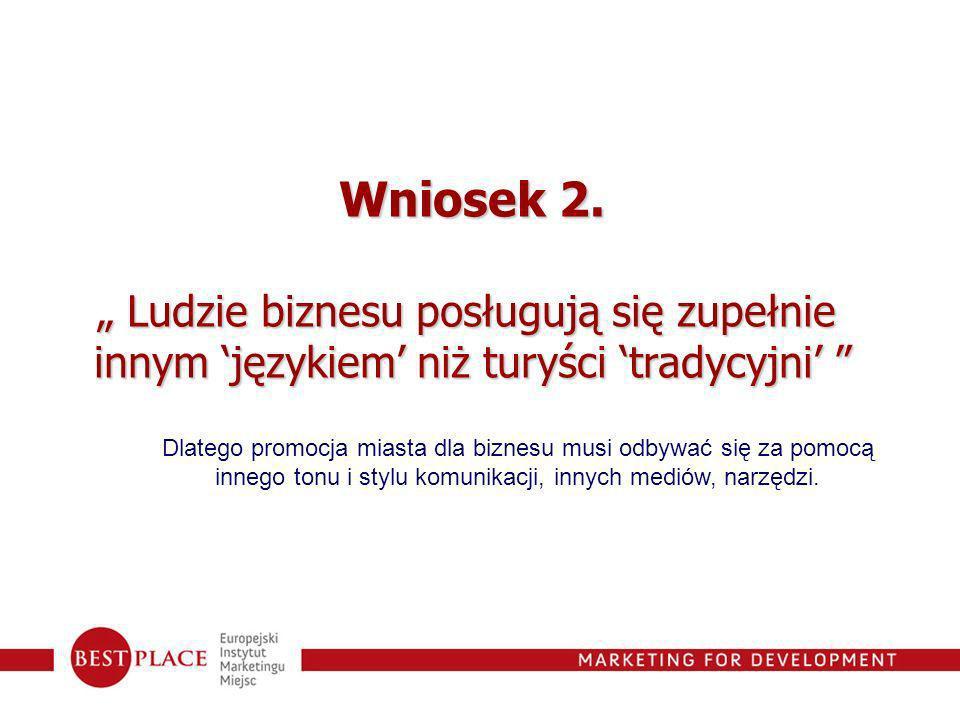 Wniosek 2. Ludzie biznesu posługują się zupełnie Ludzie biznesu posługują się zupełnie innym językiem niż turyści tradycyjni innym językiem niż turyśc
