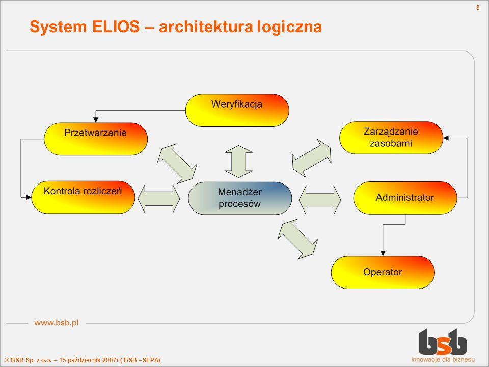 © BSB Sp. z o.o. – 15.październik 2007r ( BSB –SEPA) 8 System ELIOS – architektura logiczna