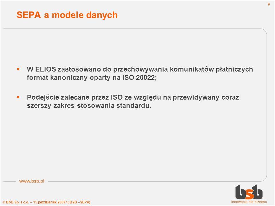 © BSB Sp. z o.o. – 15.październik 2007r ( BSB –SEPA) 9 SEPA a modele danych W ELIOS zastosowano do przechowywania komunikatów płatniczych format kanon