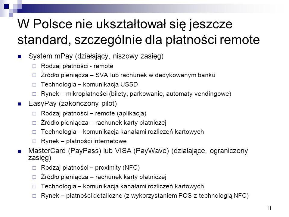 11 W Polsce nie ukształtował się jeszcze standard, szczególnie dla płatności remote System mPay (działający, niszowy zasięg) Rodzaj płatności - remote