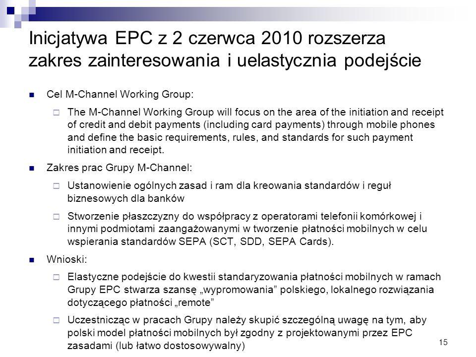 15 Inicjatywa EPC z 2 czerwca 2010 rozszerza zakres zainteresowania i uelastycznia podejście Cel M-Channel Working Group: The M-Channel Working Group