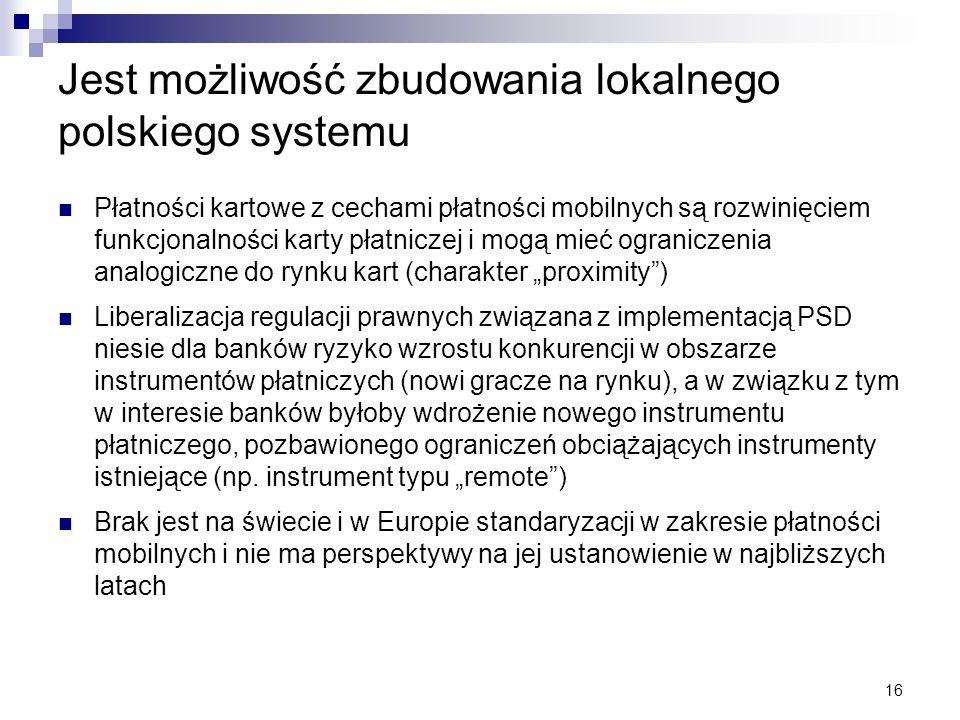16 Jest możliwość zbudowania lokalnego polskiego systemu Płatności kartowe z cechami płatności mobilnych są rozwinięciem funkcjonalności karty płatnic