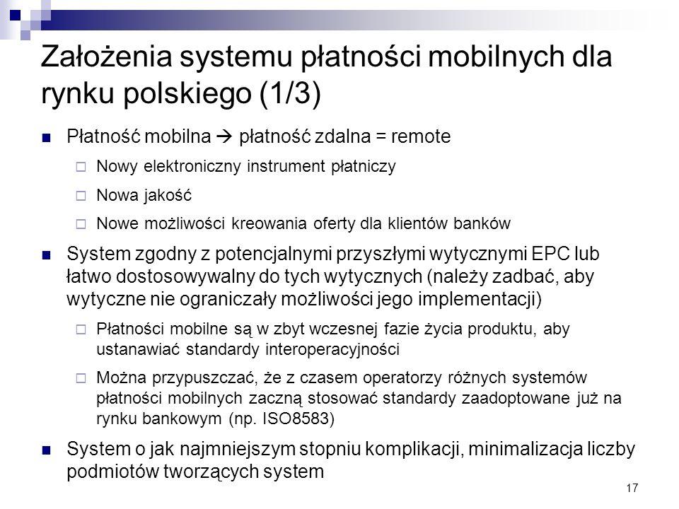 17 Założenia systemu płatności mobilnych dla rynku polskiego (1/3) Płatność mobilna płatność zdalna = remote Nowy elektroniczny instrument płatniczy N