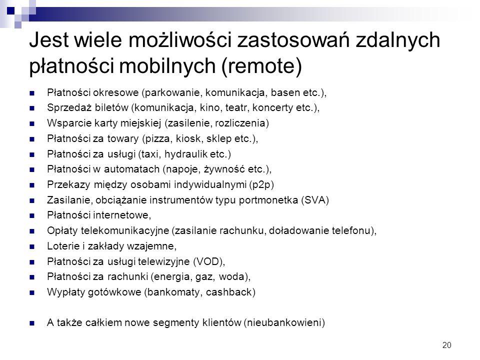 20 Jest wiele możliwości zastosowań zdalnych płatności mobilnych (remote) Płatności okresowe (parkowanie, komunikacja, basen etc.), Sprzedaż biletów (