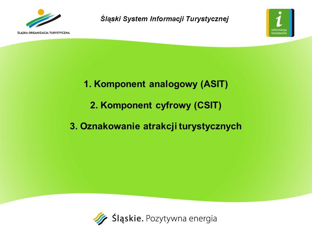 1. Komponent analogowy (ASIT) 2. Komponent cyfrowy (CSIT) 3. Oznakowanie atrakcji turystycznych Śląski System Informacji Turystycznej