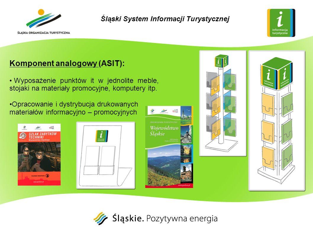 Komponent analogowy (ASIT): Jednolite oznakowanie dojścia i dojazdu do punktów informacji turystycznej i samych punktów Kompleksowe oznakowanie atrakcji turystycznych województwa śląskiego o znaczeniu regionalnym (ok.