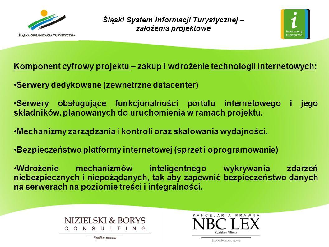 Komponent cyfrowy projektu – zakup i wdrożenie technologii internetowych: Serwery dedykowane (zewnętrzne datacenter) Serwery obsługujące funkcjonalności portalu internetowego i jego składników, planowanych do uruchomienia w ramach projektu.