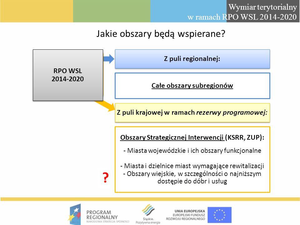 Jakie obszary będą wspierane? Z puli regionalnej: Obszary Strategicznej Interwencji (KSRR, ZUP): - Miasta wojewódzkie i ich obszary funkcjonalne - Mia
