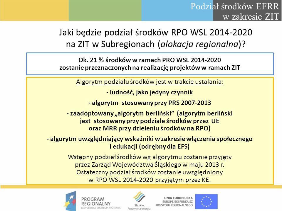 Podział środków EFRR w zakresie ZIT Jaki będzie podział środków RPO WSL 2014-2020 na ZIT w Subregionach (alokacja regionalna)? Ok. 21 % środków w rama