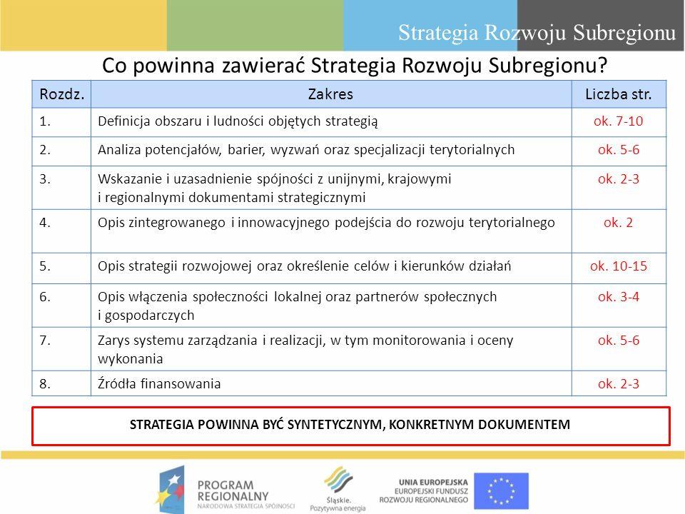 Co powinna zawierać Strategia Rozwoju Subregionu? Strategia Rozwoju Subregionu Rozdz.ZakresLiczba str. 1.Definicja obszaru i ludności objętych strateg