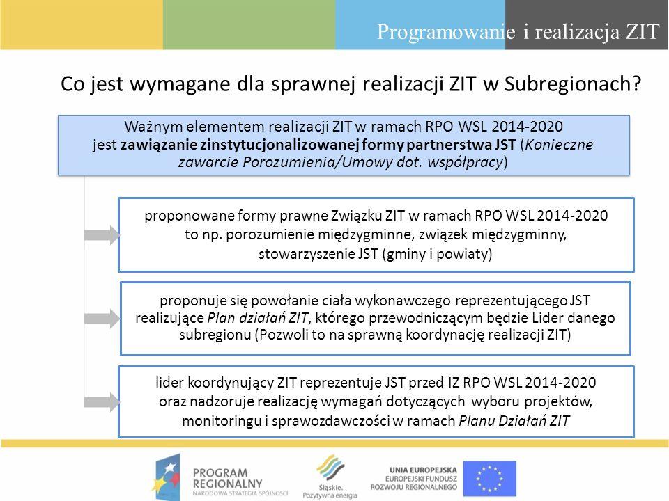 Co jest wymagane dla sprawnej realizacji ZIT w Subregionach? Programowanie i realizacja ZIT Ważnym elementem realizacji ZIT w ramach RPO WSL 2014-2020