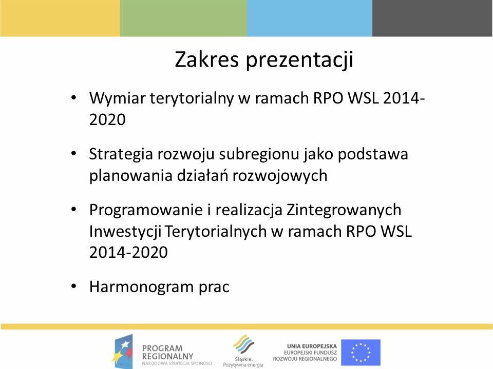 Zakres prezentacji Wymiar terytorialny w ramach RPO WSL 2014- 2020 Strategia rozwoju subregionu jako podstawa planowania działań rozwojowych Programow