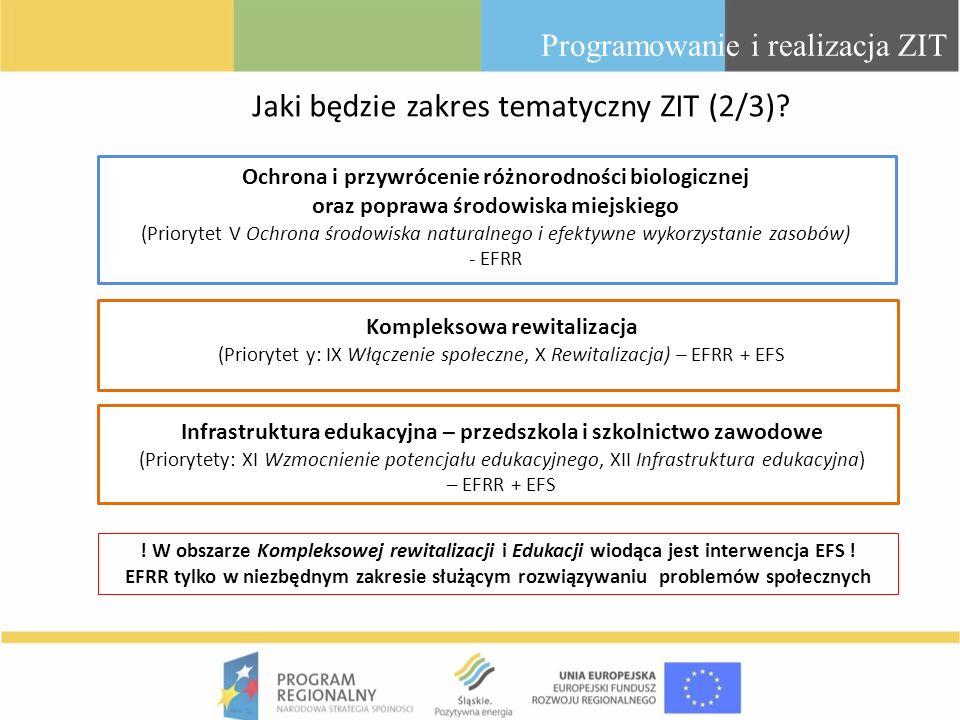 Programowanie i realizacja ZIT Kompleksowa rewitalizacja (Priorytet y: IX Włączenie społeczne, X Rewitalizacja) – EFRR + EFS Infrastruktura edukacyjna