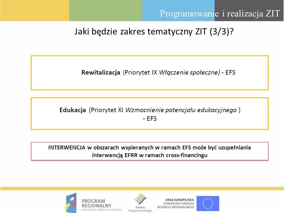 Programowanie i realizacja ZIT Rewitalizacja ( Priorytet IX Włączenie społeczne) - EFS Edukacja (Priorytet XI Wzmocnienie potencjału edukacyjnego ) -