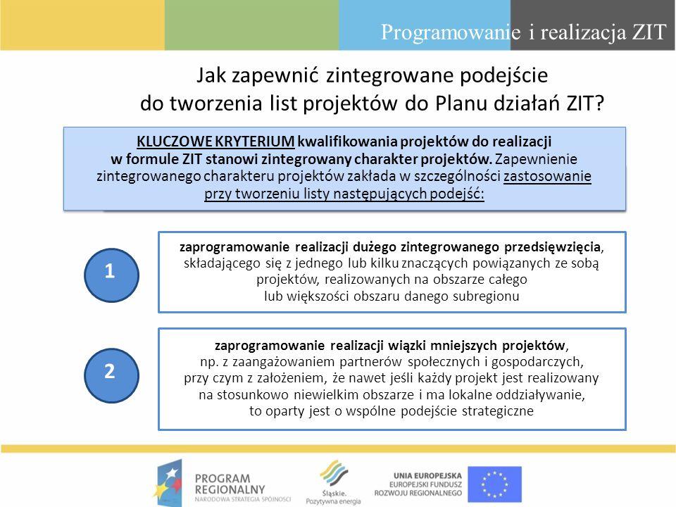 Jak zapewnić zintegrowane podejście do tworzenia list projektów do Planu działań ZIT? Programowanie i realizacja ZIT zaprogramowanie realizacji dużego