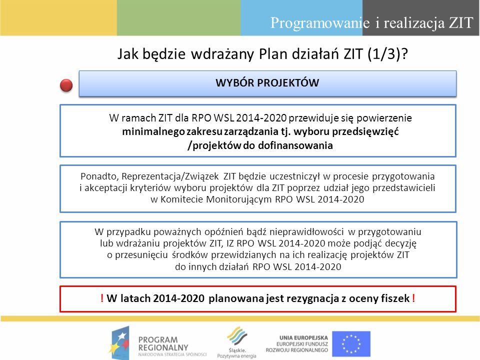 Jak będzie wdrażany Plan działań ZIT (1/3)? Programowanie i realizacja ZIT Ponadto, Reprezentacja/Związek ZIT będzie uczestniczył w procesie przygotow