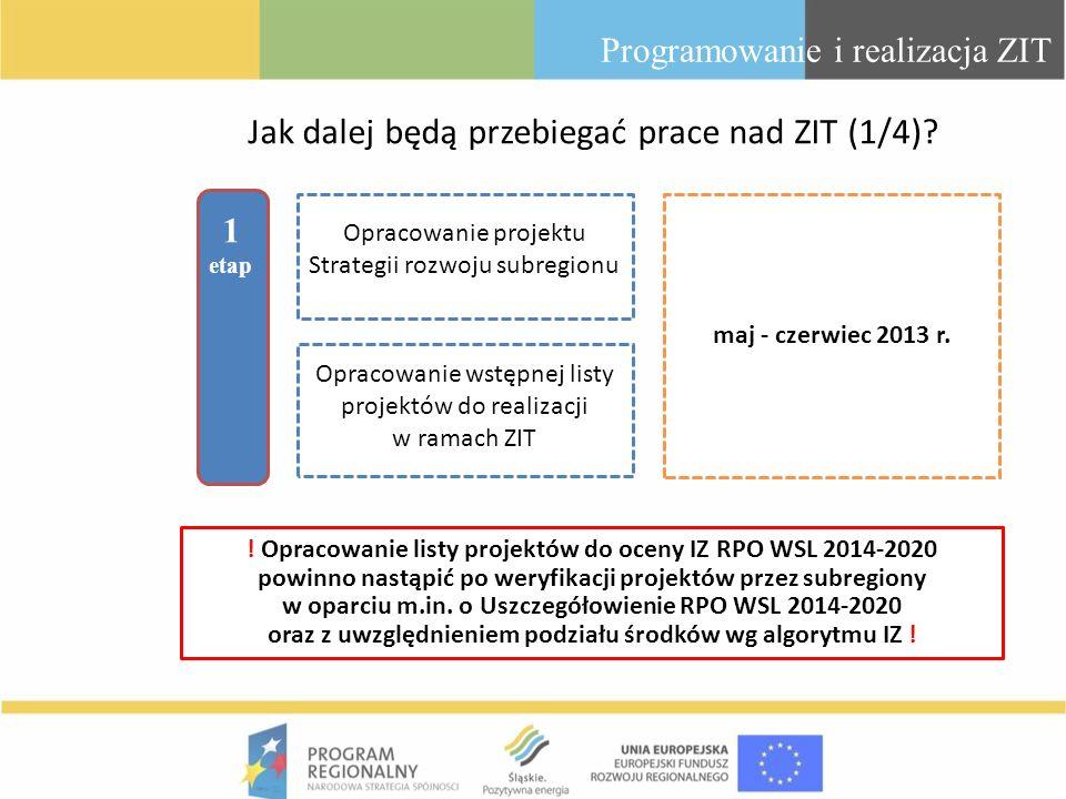 Jak dalej będą przebiegać prace nad ZIT (1/4)? Programowanie i realizacja ZIT 1 etap maj - czerwiec 2013 r. Opracowanie wstępnej listy projektów do re